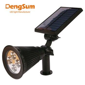 [DENGSUM]4 LED Spotlight Lawn Lamp Outdoor Garden Solar Panel Power Adjustable Wall Flood Light 7 Colour in 1 Landscape Lighting