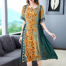 Summer Silk Dress Plus Size M-3XL 2019 New Ladies Natural Printed Round Neck Loose A-Line Casual Over The Knees