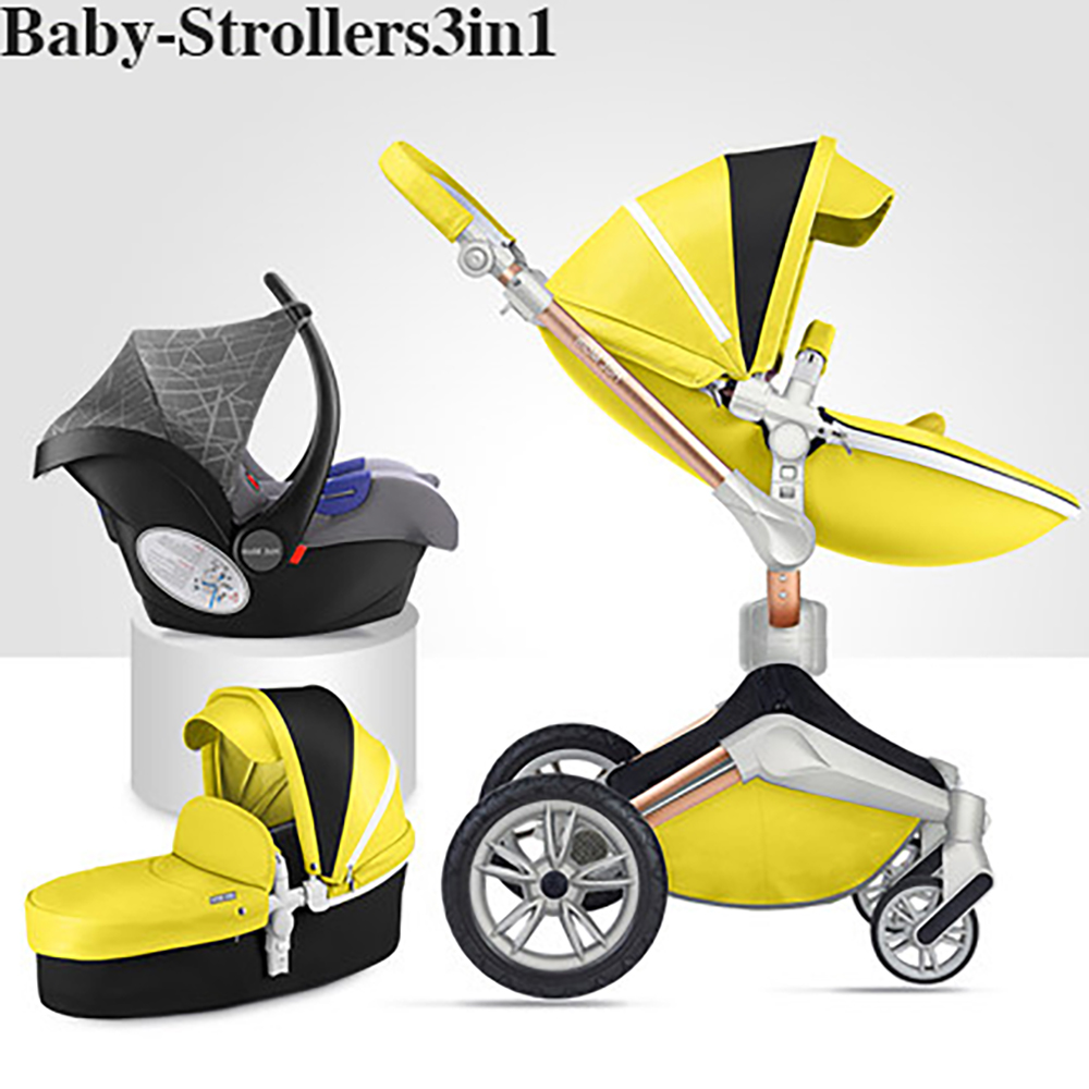 купить Babyfond Luxury PU Leather Waterproof Material 360 Degree Rotatable Folding High Landscape Multicolor Optional Baby Stroller по цене 53057.77 рублей