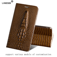 Luxury Genuine Leather flip Case For Samsung C5 Pro dragon head model Invisible magnetic soft silicone Inner shell phone cover