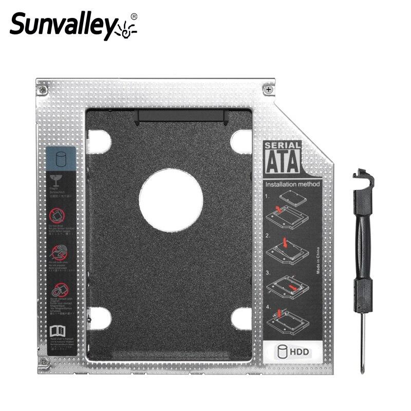 "100% Wahr Sunvalley 12,7mm Aluminium Metall Material 2nd Hdd Caddy Sata Zu Sata 2,5 ""ssd Hdd Fall Für Laptop Odd Dvd/cd-rom Optibay"