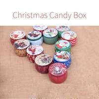 1set 12pcs 7*5cm DIY Christmas candy boxes children's gifts christmas decorations for home Santa Claus iron art Christmas gifts