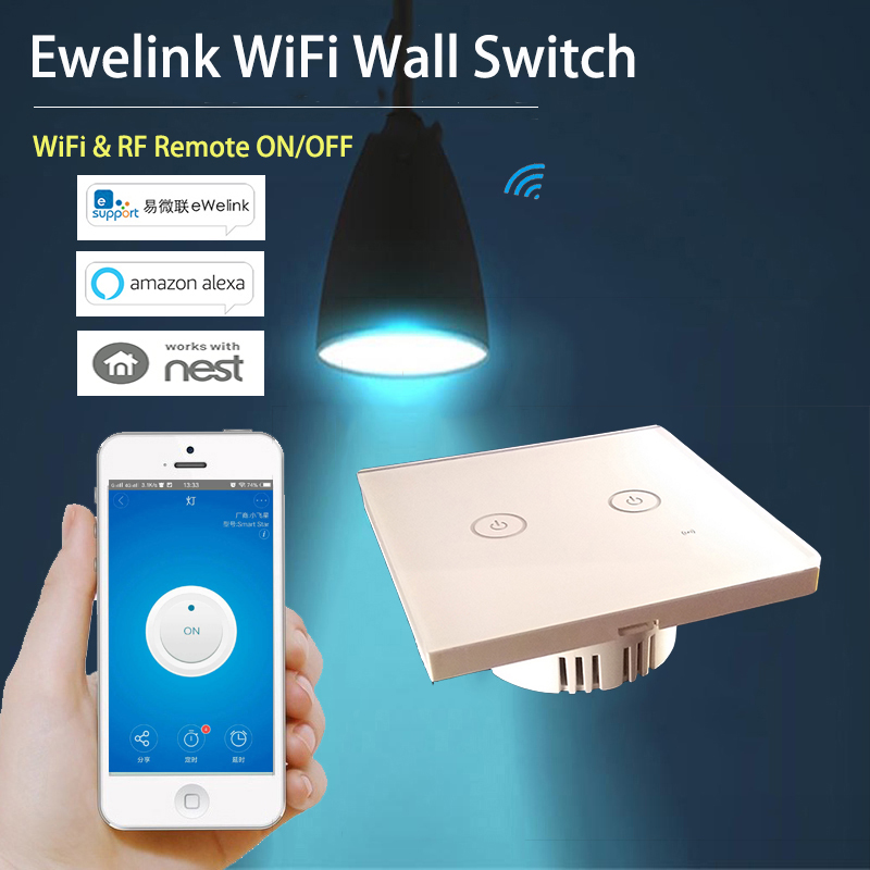 Ewelink 2 Gang WiFi RF Wall Light Touch Switch Timer Panel 86 Type 85-250V IOS Andorid Phone Remote Smart Home Automation