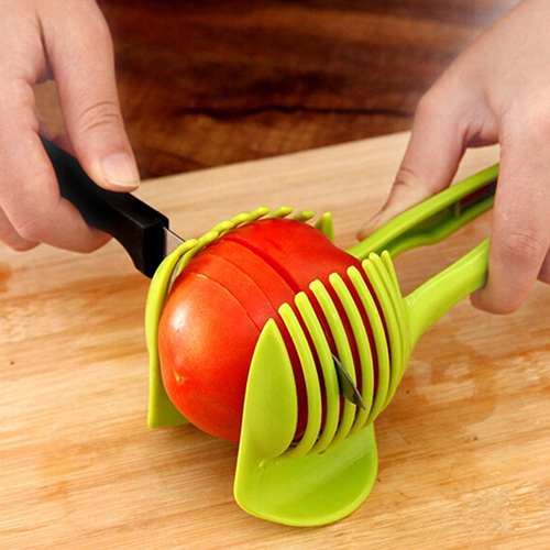 Kitchen Fruit Slicer Vegetable Tomato Clip Holder Lemon Potato Round Cutter Tool