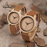 BOBO BIRD Round Wooden Wristwatch Japan Movement Quartz Watch For Couple Men 43mm Dial Women 38mm
