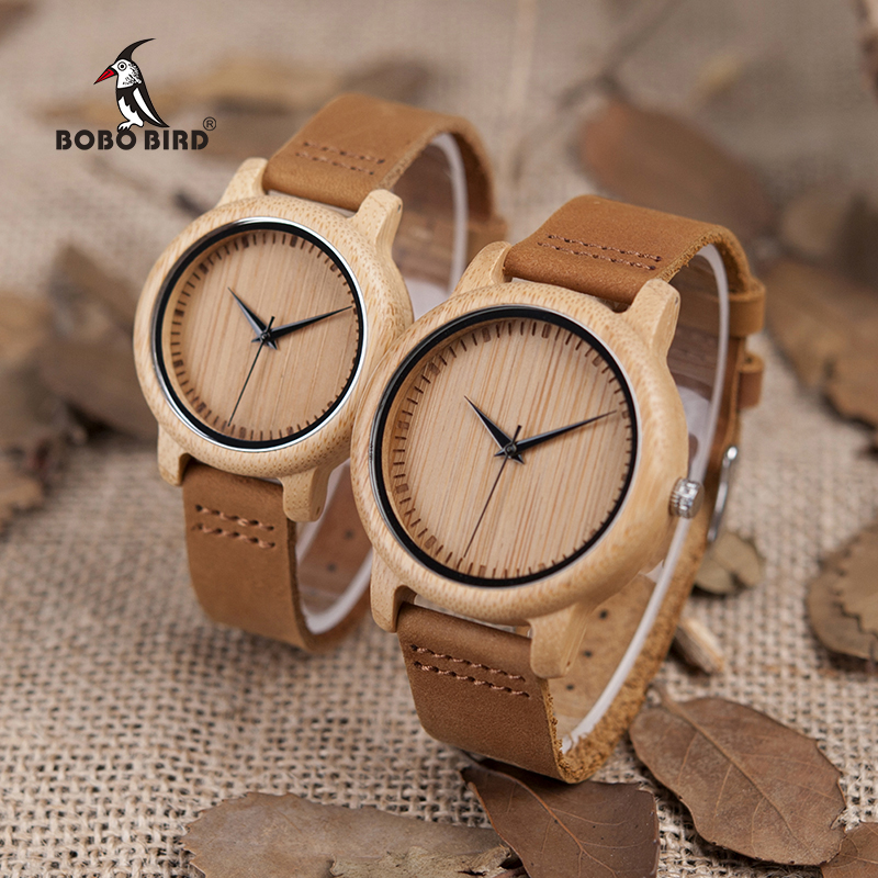 цена на BOBO BIRD Watch Women relogio masculino Quartz Watches Men Bamboo Wood Couple Wristwatches Ideal Gifts Items Drop Shipping