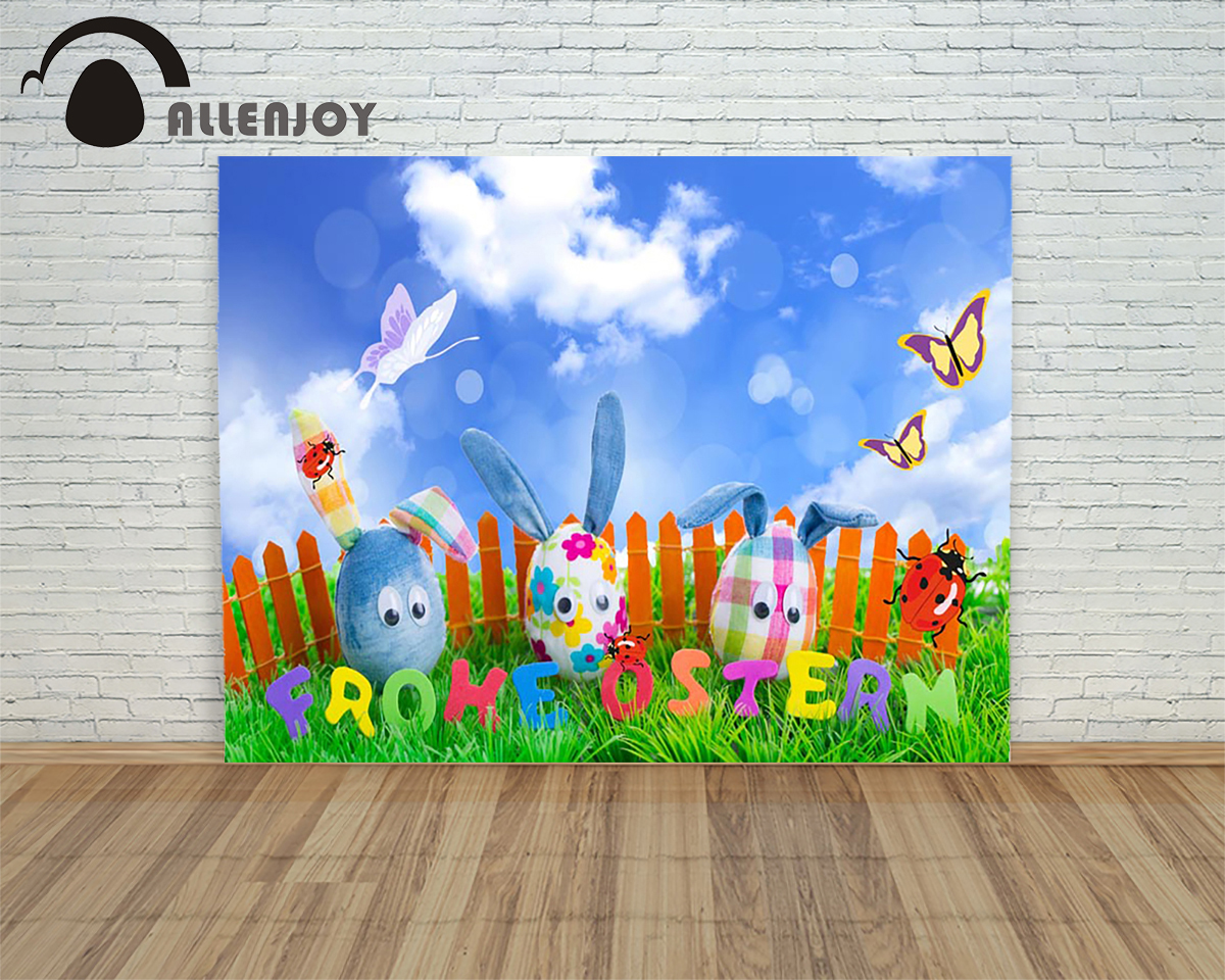 Allenjoy background Happy easter eggs fabirc Easter egg rabbit ears butterfly sky fence children photography a photo