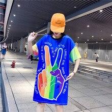 M summer long cartoon print short-sleeved dress womens shirt personality tide finger