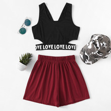 Crop Tank Top And Casual Shorts Pajama Set Women Letter Prin