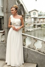 Elegant A line One Shoulder Floor Length Chiffon font b Evening b font Formal font b