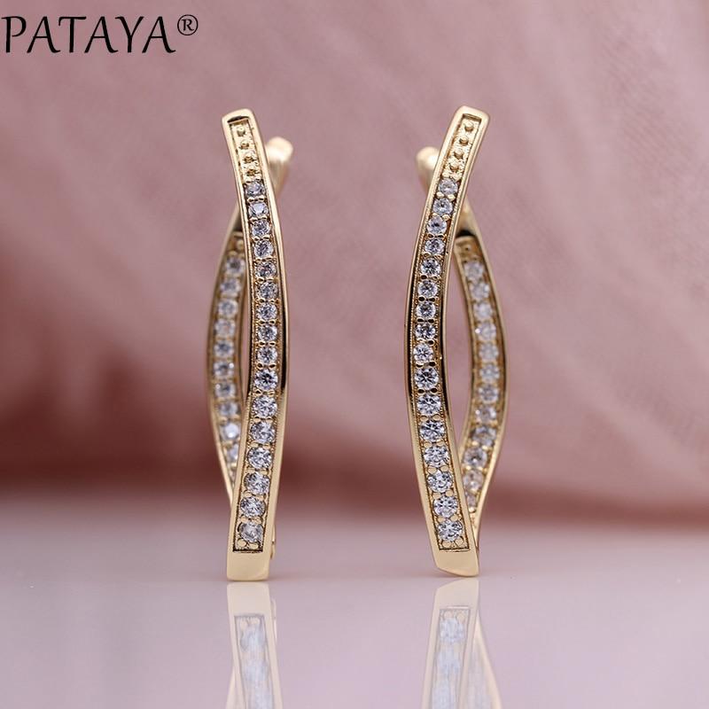 PATAYA nouveautés une rangée Micro-cire incrusté Zircon naturel longues boucles d'oreilles 585 or Rose femmes de mariage bijoux exquis