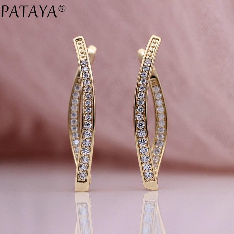 Pataya recém chegados única linha micro-wax incrustação natural zircão brincos longos 585 rosa de ouro feminino festa de casamento jóias requintadas