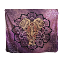 Purple Floral Lotus Elephant Mandala Soft Polyester India Tapestry Wall Hanging Carpet Table Clothes