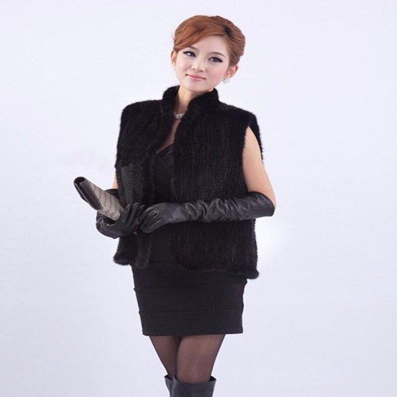 Le nouveau Nouveau Tricoté Réel De Fourrure De Vison Gilet Gilet Court Femmes Sans Manches Tricoté Vison Gilet Usine vente chaude