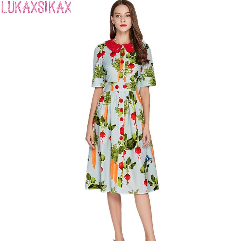 LUKAXSIKAX модное высококачественное Брендовое дизайнерское платье для подиума кружевное лоскутное платье с воротником Питер Пэн с коротким рукавом облегающее вечернее платье