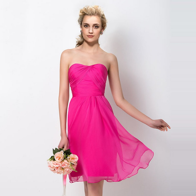Tanpell strapless   bridesmaid     dress   fuchsia sleeveless knee length sheath gown lady wedding party custom short   bridesmaid     dresses