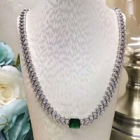 Fashion 925 sterling silver necklace with dense double row rhinestone center green zircon necklace banquet jewelry