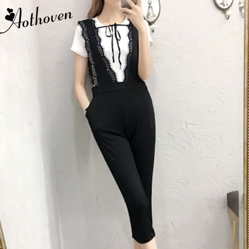 2 Piece Set Casual Women Suit Summer White Short Sleeve T-shirt Tops And Black Lace Suspenders Trousers Two Piece Set Ladies
