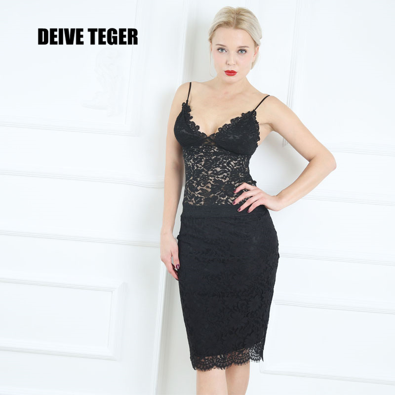 DEIVE TEGER New Arrival Flower Lace Floral Hollow out Sexy Plunged Neckline Bustier  Women Midi Dress  HL2708