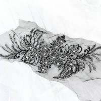 Black Lace Applique Heavy Bead Lace Applique 3D Lace Applique With Rhinestones With Metallic Shine 3d
