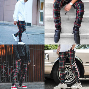 Image 3 - Vintage Scottish Plaid Sweatpant Justin Bieber Tartan Track Pants Mens Drawstring Ankle Strap Zip Patch Hip hop Jogger for Men