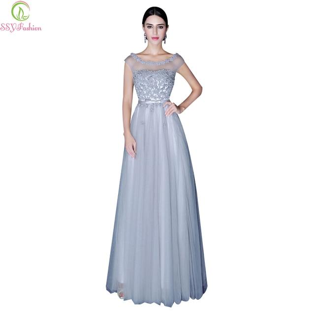 Kleid blau grau lang