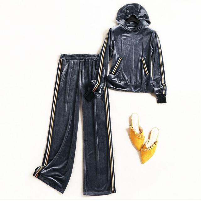 High-end women stripe women set vintage hooded sweater top + pants sport elegant lady casual velvet suit set S-XL