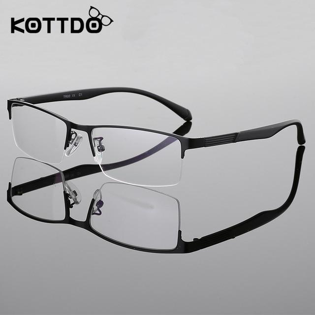 2720958ba680b KOTTDO Meia Óculos Sem Aro Frame Ótico Prescrição Semi-Aro Óculos de Armação  para homens