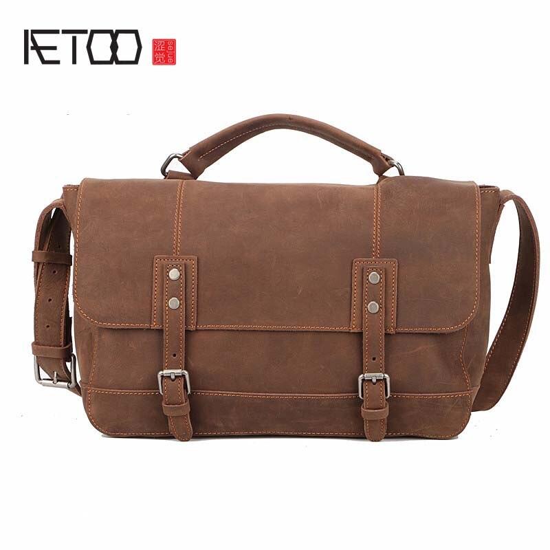 AETOO Men's Crossbody Bag Men Messenger Bags Vintage Bag Mens Messenger Bag Men Leather Crazy Horse Genuine Leather Handbag