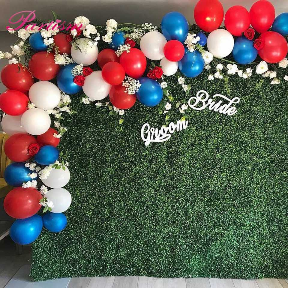 Diy Red Blue White Series Inflatable Foil Balloons Paper Pompoms