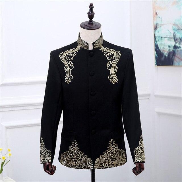 Blazer Negro Chaqueta Hombres Concierto Floral Bordado Hermoso HtUtvqrn