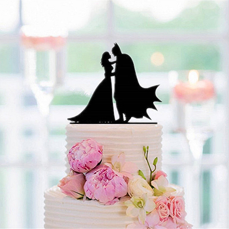 Acrylic Batman Cake Topper Batman and bride Silhouette cake Topper for Wedding Decoration Supplies free shipping