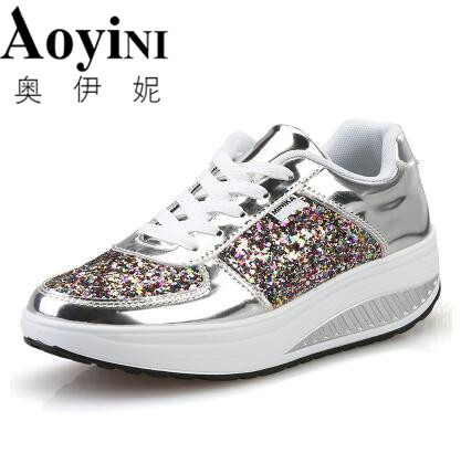 Free Shipping 2018 Spring Cool Gold Sequined Spring/Autumn Women Casual Shoes Sport Fashion Walking Shoes Swing Wedges Shoes Wom free shipping candy color women garden shoes breathable women beach shoes hsa21