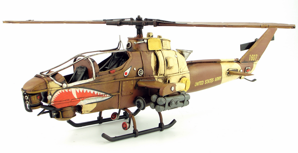 Antique tin plane AH 1G ornaments handmade aircraft model aircraft accessories furnishings home decor gift