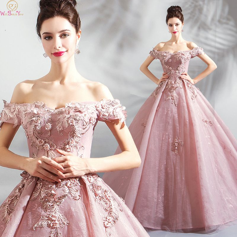 Elegant Pink Quinceanera dress 2019 New Appliques Off The Shoulder Beading Ball Gowns Lace Up Prom Formal Tulle Robe De Soiree