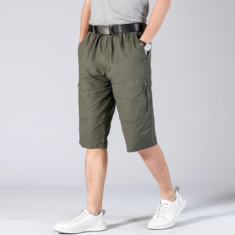 Long Shorts Men Cargo Secure Pocket Zipper Bermuda Male Knee Length Elastic Waist Loose Cotton Summer Mens Breeches 3/4 Pant Men