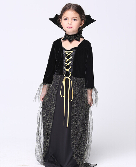 Free shipping girl kid  witch vampire  Costume Dress+hat Cosplay Costumes party stage set 95-135cm  Halloween kids black ouytfit