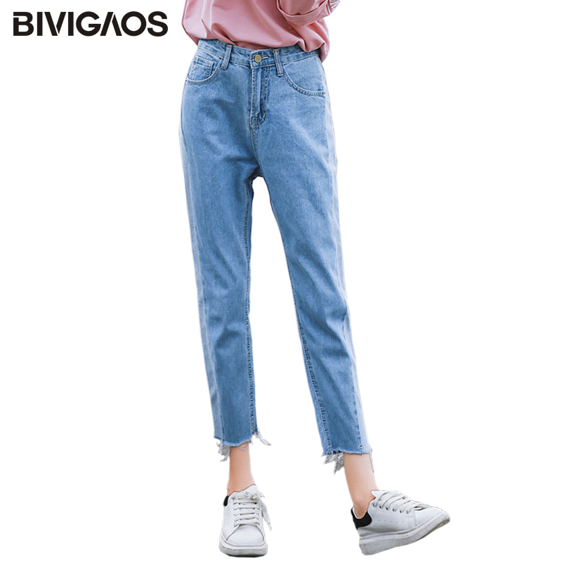 BIVIGAOS 2019 New Spring Autumn Womens Cropped Jeans Korean Side Stitching Washed Denim Straight Pants Boyfriend Jeans For Women