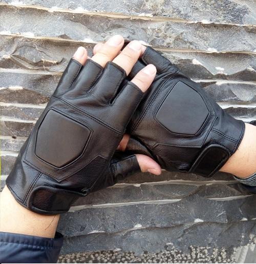 BACHASH, козья кожа, Прямая поставка,, модные женские перчатки для вождения с полупальцами, 1 шт., кожаные перчатки для женщин, одноцветные - Цвет: black kuai
