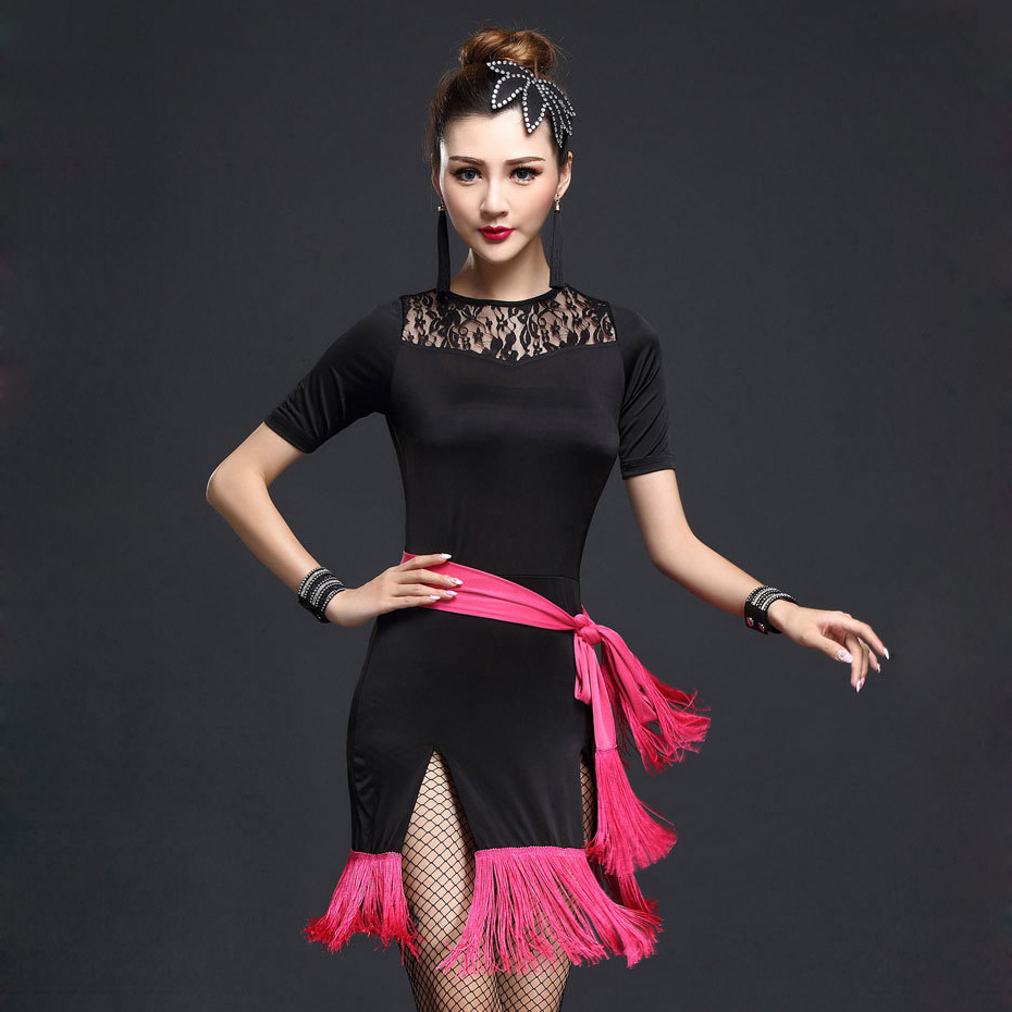 Stage Performance Women Dance Clothes Embroid Costume 4pcs Set With Bracelet Ballroom Fringe Latin Dress Women Competition