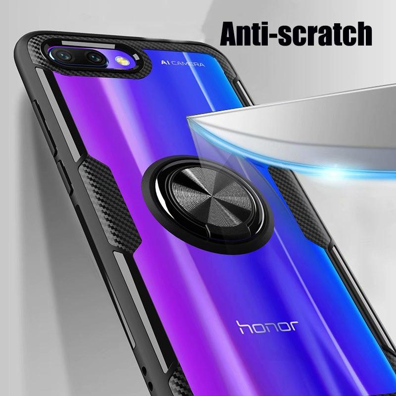 HTB1r.gfXZfrK1Rjy1Xdq6yemFXav Finger Ring Kickstand Case for Huawei Honor 10 7X Play TPU Bumper Car Magnetic Acrylic Case PC Hard Cover for Honor 7X 10 Coque
