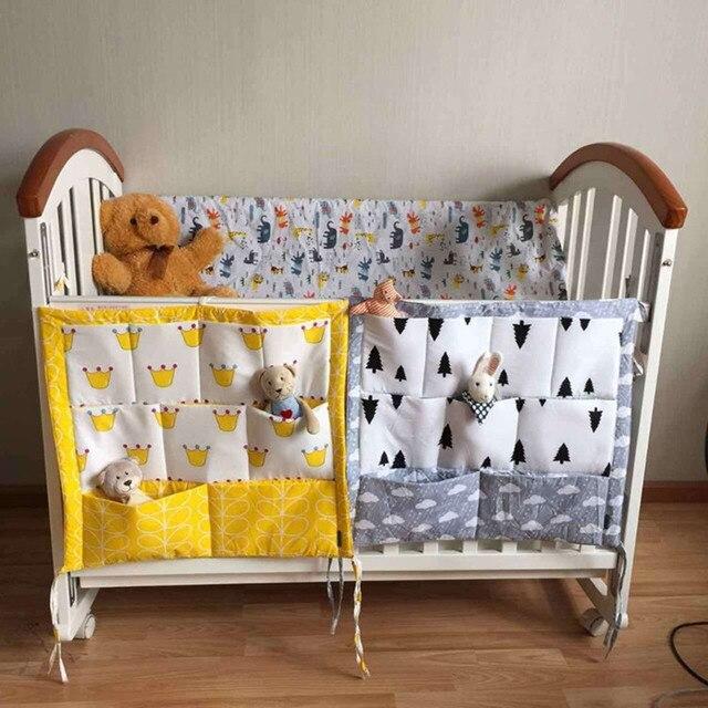 Bebé cama colgante bebé CotStorage bolsa algodón recién nacido cuna organizador juguete pañal bolsillo para cuna ropa de cama accesorios bebé cuna