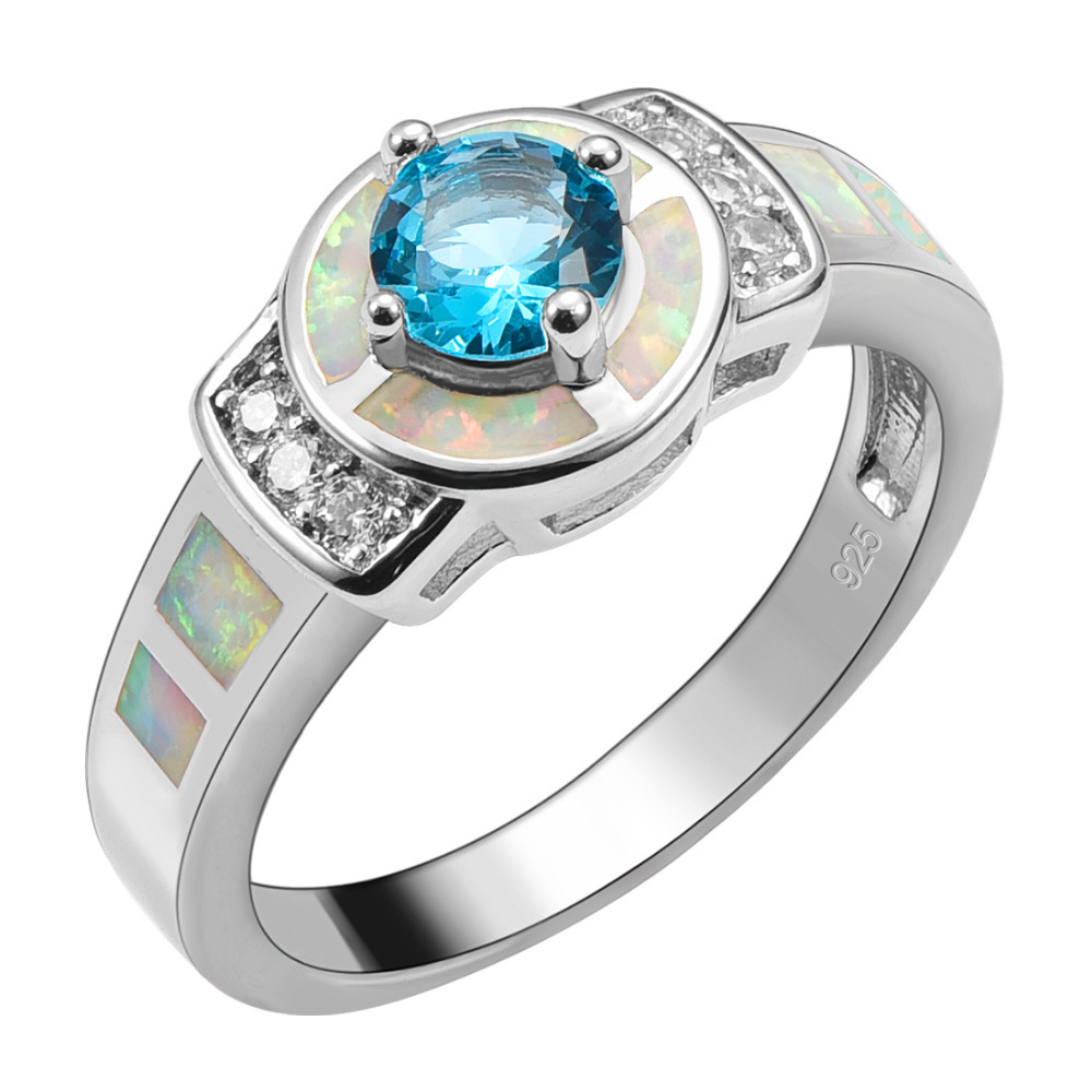 Simulated Aquamarine With White Fire Opal 925 Sterling Silver Ring For Woman Size 6 7 8 9 10 R1555