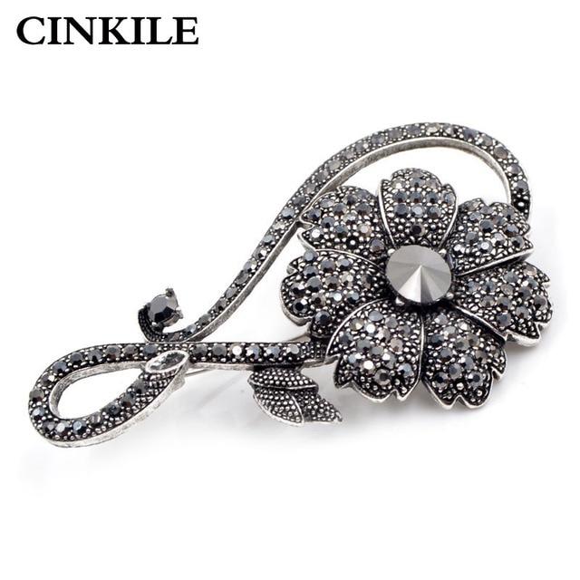 CINKILE Rhinestone Flower Brooches For Women Elgant Wedding Dress Brooch Pin Vin