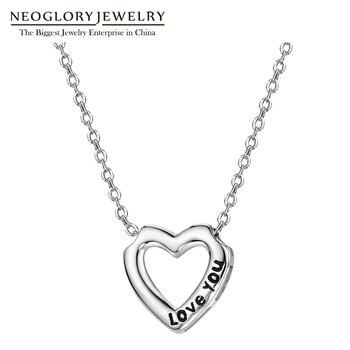 edcd5bc0b707 Neoglory 925 letras de plata Love You Heart Love collar largo colgantes  para mujeres regalos joyería de moda 2019 nuevo