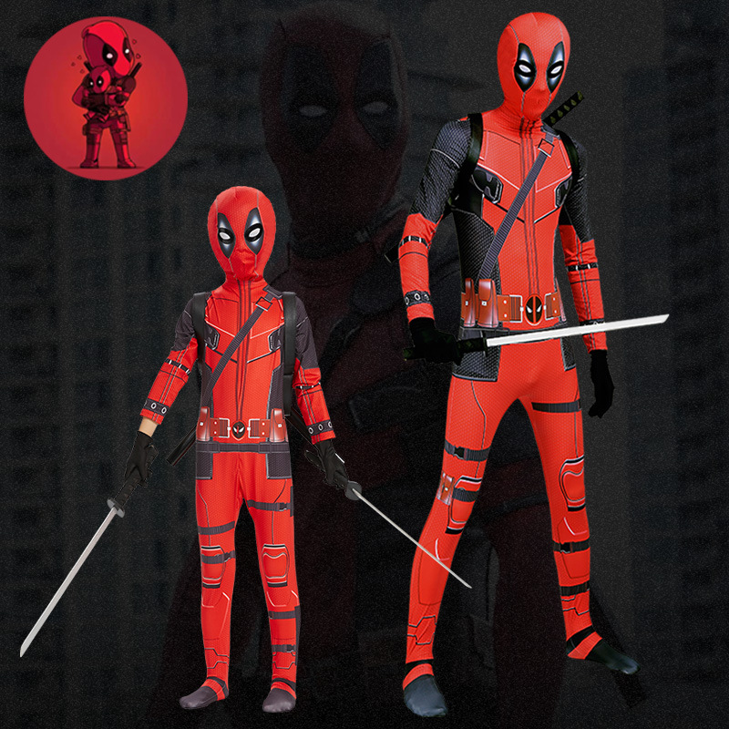 2019  Hot Marvel Deadpool Costume Kids Boys Superhero One Pieces Full Body Cosplay Suit Men's Party Halloween Deadpool Cosplay