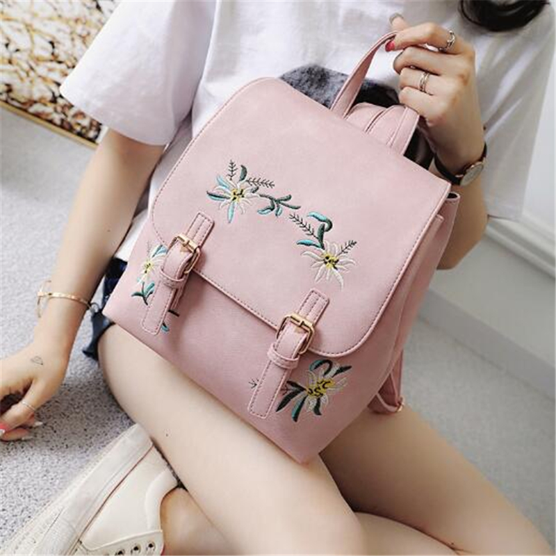 Brand Women Leather Backpacks Female School bags for Girls Rucksack Small Floral Embroidery Flowers Bagpack 1