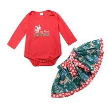 Baby Girls Spring Autumn Christmas Print Cartoon Romper+Bow-knot Skirt Sets Newborn Infant Soft Cotton Fashion 2pcs Clothing Set