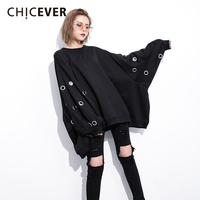 CHICEVER Winter Hollow Pullovers Female Sweatshirts For Women Top Batwing Sleeve Loose Big Size Sweatshirts Clothes Fashion New