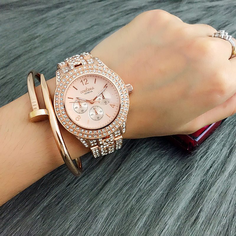 Prix pour 2017 New Hot Vente Contena Classique Femmes Plein de Diamants Robe Montres Dames Quartz Montre Or Femme Montres reloj mujer